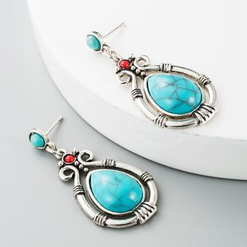 Exaggerated Jewelry Inlaid Ruby Blue Turquoise Alloy Pendant Earrings Female Geometric Heart Stud Earrings NHLN184126