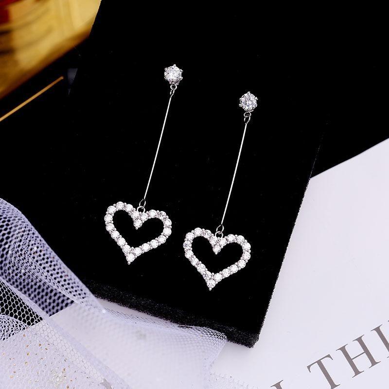 Peach heart earrings female tassel earrings heart-shaped long personality wild fashion silver pin earrings NHDO184261