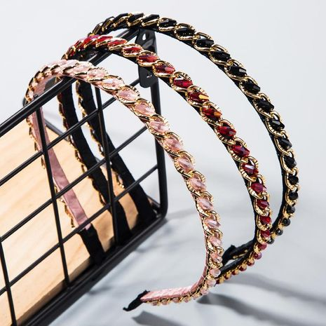 Hair band new hand-wrapped crystal beads thin-edged hair hoop NHLN184118's discount tags