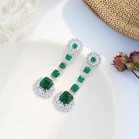 Jewelry Micro-Set Zircon Flowers Luxury Earrings Ring Emerald Banquet 925 Silver Female Retro Earrings NHDO184269's discount tags