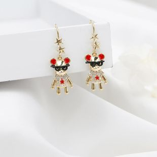 New Year eyes and mouse earrings fashion wild micro diamond cute earrings NHDO184287's discount tags