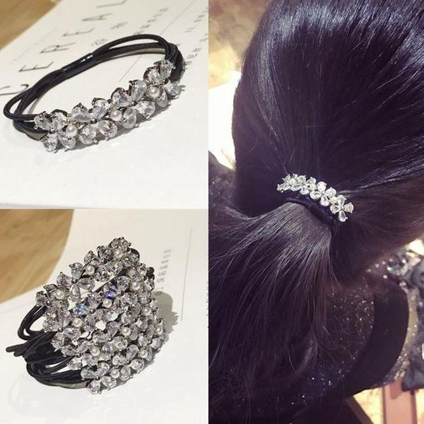 Korean hair accessories zircon crystal rhinestones super flash flowers high elastic hair rope headband NHSM184398