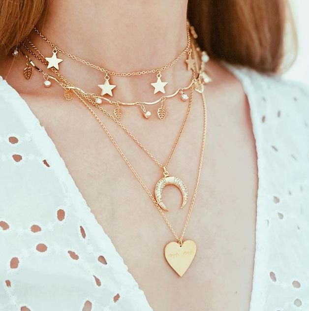 Horn Letter Love Necklace Necklace Wild Fashion Diamond Leaf Star Long Money Chain NHGY183807
