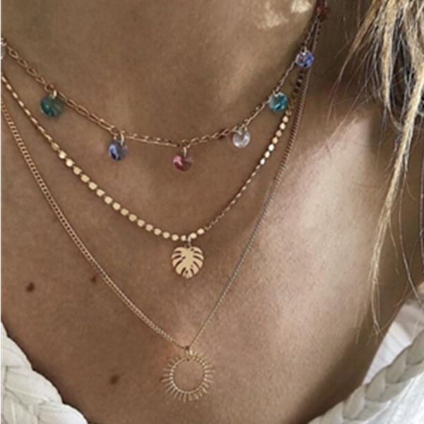 Multicolor Crystal Leaf Sun Openwork Sweater Chain Necklace NHGY183815