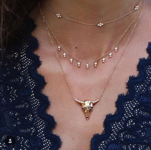 Women's bohemian fashion diamond beaded bull head pendant multilayer necklace necklace women NHGY183816
