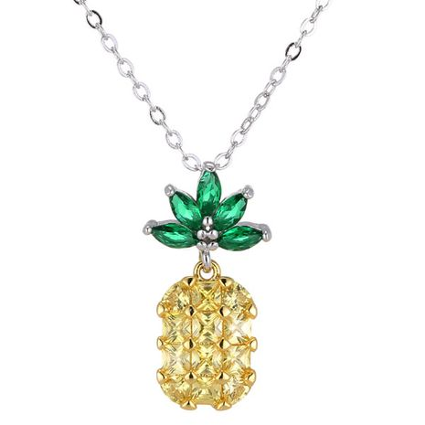 Fashion Sweet OL Bright Pineapple Necklace NHSC184434's discount tags