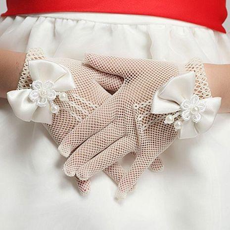 Children etiquette gloves girls princess wedding dress pearl bride wedding gloves NHTY184304's discount tags