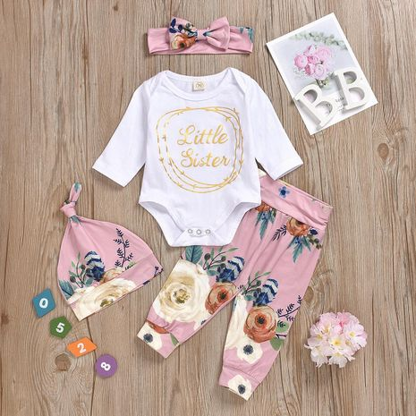 Four-piece set of children's clothes with printed letters NHYB184241's discount tags