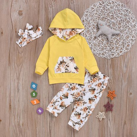 hot plant printed yellow three-piece fashionable cotton children's clothing NHYB184247's discount tags