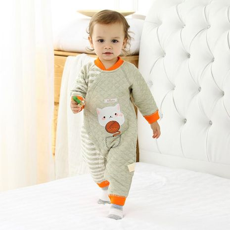 Baby warm jumpsuit winter quilted male baby baby clothes cotton newborn clothes climbing clothes NHQE184328's discount tags