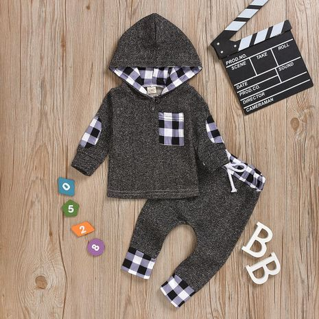 hot black and white checked cotton children clothes wholesale NHYB184243's discount tags