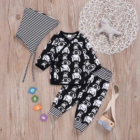 hot printed monkey king clothes black and white line three-piece fashion cotton children's clothing NHYB184246's discount tags
