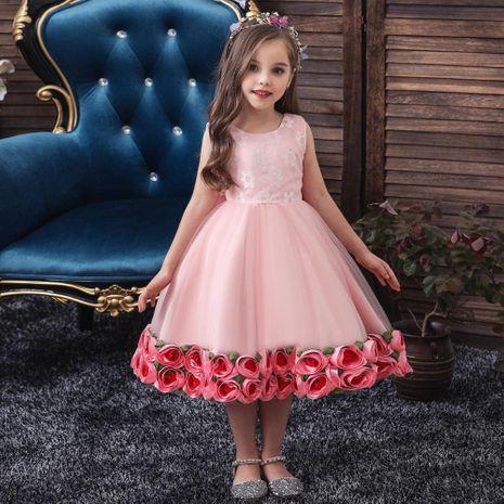 Children's dress girl pettiskirt hem flower costume flower girl skirt baby year-old wash dress NHTY184216's discount tags