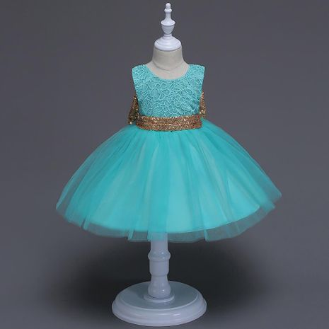 Sequined Big Bow Children's Skirt Mid-Children's Lace Sleeveless Gauze Dress Princess Dress Wholesale NHTY184218's discount tags