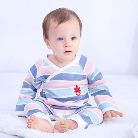 Baby jumpsuit newborn clothes cotton thin long-sleeved 0-2y baby pajamas toddlers NHQE184323's discount tags