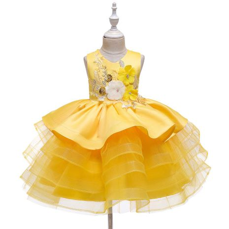 Nouvelle robe pour enfants robe de princesse filles pettiskirt fleur fille cérémonie de mariage NHTY184297's discount tags