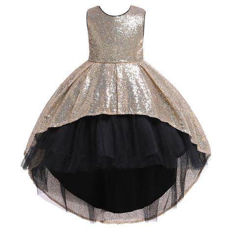 Filles Paillettes Robe Jupes Enfants Tailleur Puff Princesse Robes Filles De Mariage Robes De Fille De Fleur NHTY184298's discount tags
