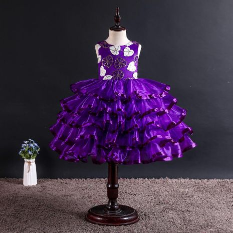 Hot sale sleeveless children's catwalk dress girls princess tutu skirt piano costumes NHTY184310's discount tags