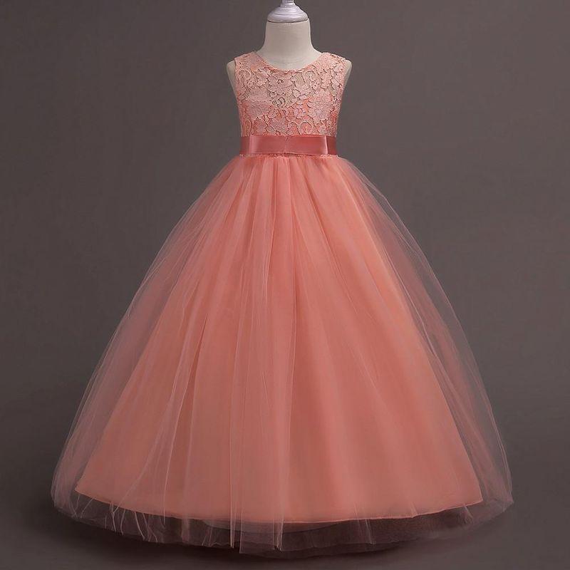 Falda para niños Primavera coreana ropa para niños vestido de niña de encaje largo cintura alta vestido de princesa falda al por mayor NHTY184219