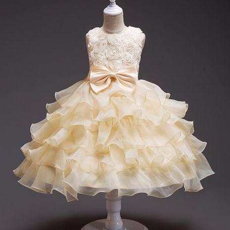 Girls dress princess flower tutu flower girl bow wedding net skirt NHTY184223's discount tags