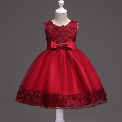 Children's skirt wedding dress bow princess skirt female lace dress NHTY184227's discount tags
