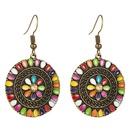 Color flower drip oil earrings bohemian earrings alloy earrings long ear hook women NHLN184127