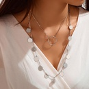 Simple disc long sweater chain ethnic retro alloy disc tassel big circle pendant multilayer necklace NHGY183787