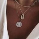 Fashionable metal wild seashell flower plate personality multilayer women necklace NHSC184409