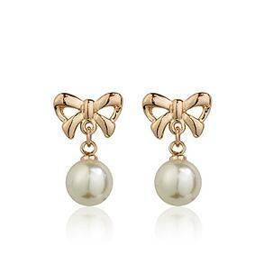 Fashion bow pearl earrings clavicle chain necklace set chain set female birthday gift wholesale NHLJ184555