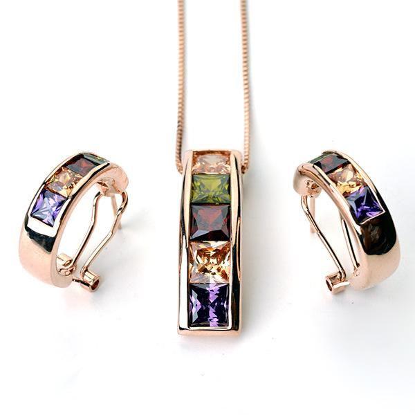 Fashion vintage zircon necklace earrings set exquisite jewelry wholesale NHLJ184557