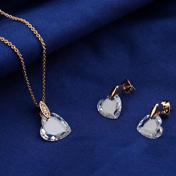 Han Taoxin Pendant Necklace Earrings Crystal Set Girls Jewelry NHLJ184590