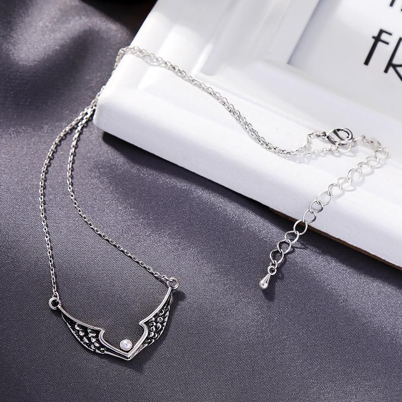 Retro necklace women's simple diamond wings pendant temperament wild pearl short clavicle chain NHQD184671