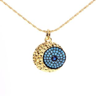 New jewelry necklace pendant blue inlaid zircon eyes clavicle chain wholesale NHPY184635's discount tags