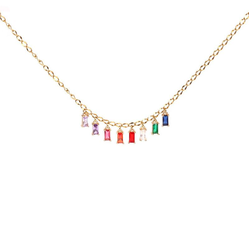 New accessories colored zircon pendant necklace stainless steel necklace NHPY184650