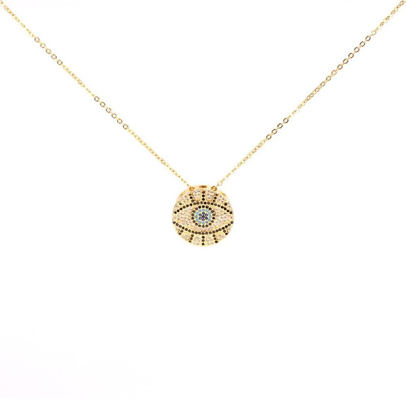 Evil Eye Necklace Copper Micro Inlaid Zircon Eye Short Clavicle Chain NHPY184657