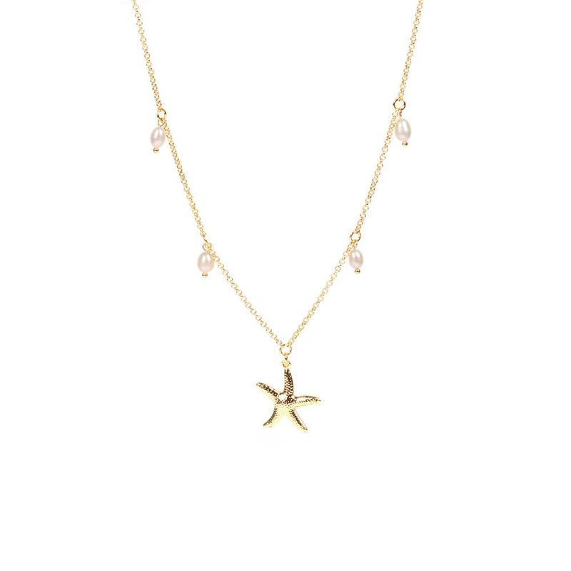 Stainless Steel Chain Gold Plated Starfish Necklace Creative Pearl Pendant Necklace Wholesale NHPY184659