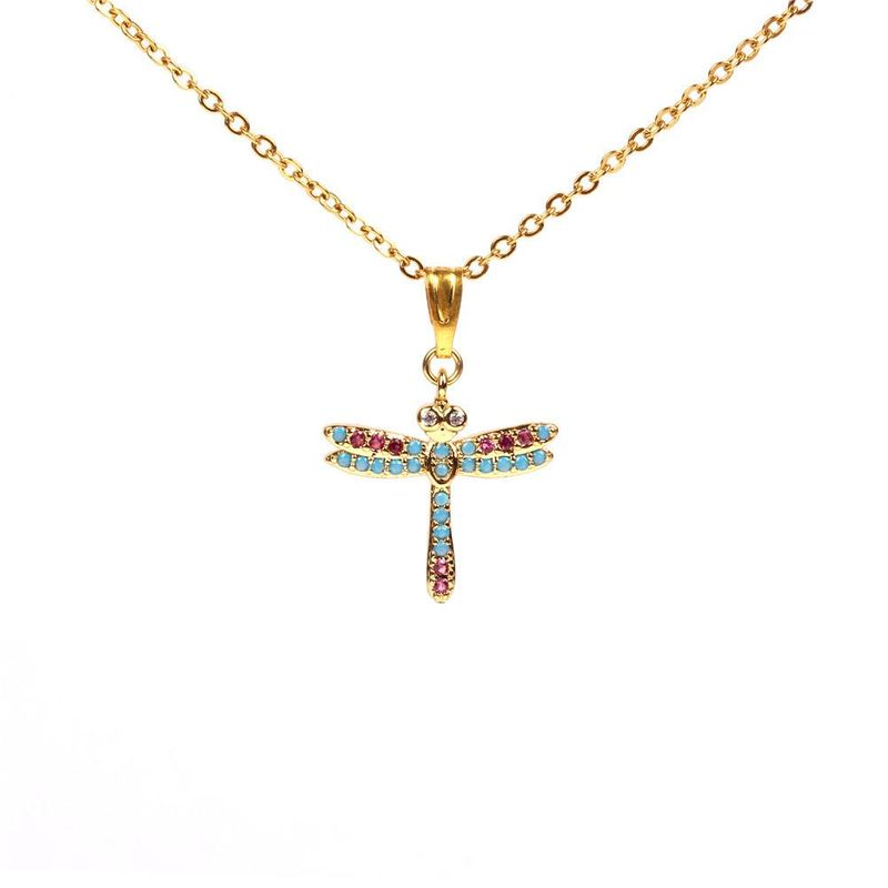 New necklace micro studded diamond dragonfly necklace stainless steel female clavicle chain jewelry wholesale NHPY184661