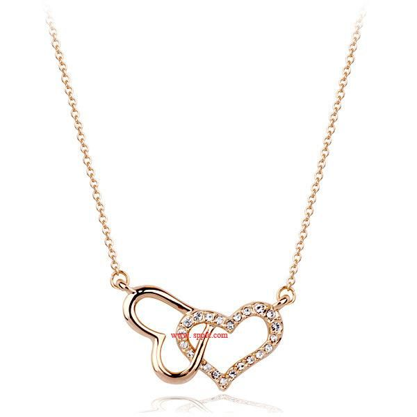 Fashionable New Diamond Heart Heart Necklace Necklace Cute Temperament Hot Items NHLJ184560