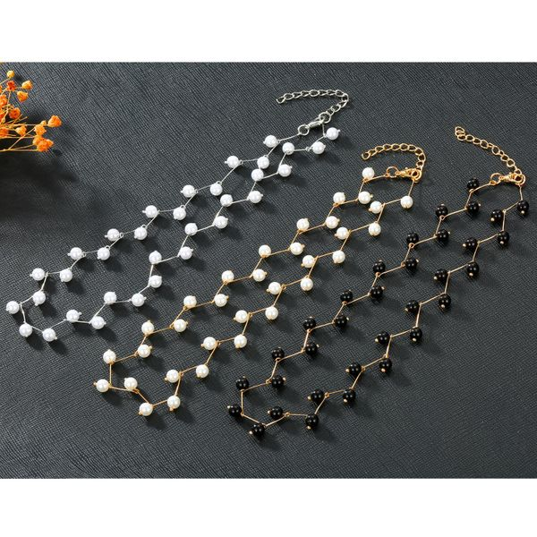 New Korean Pearl Bamboo Clavicle Chain Gold Silver Necklace NHGO184715