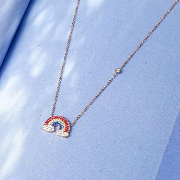 Rose gold rainbow necklace female simple clavicle chain simple personality temperament NHIM184519