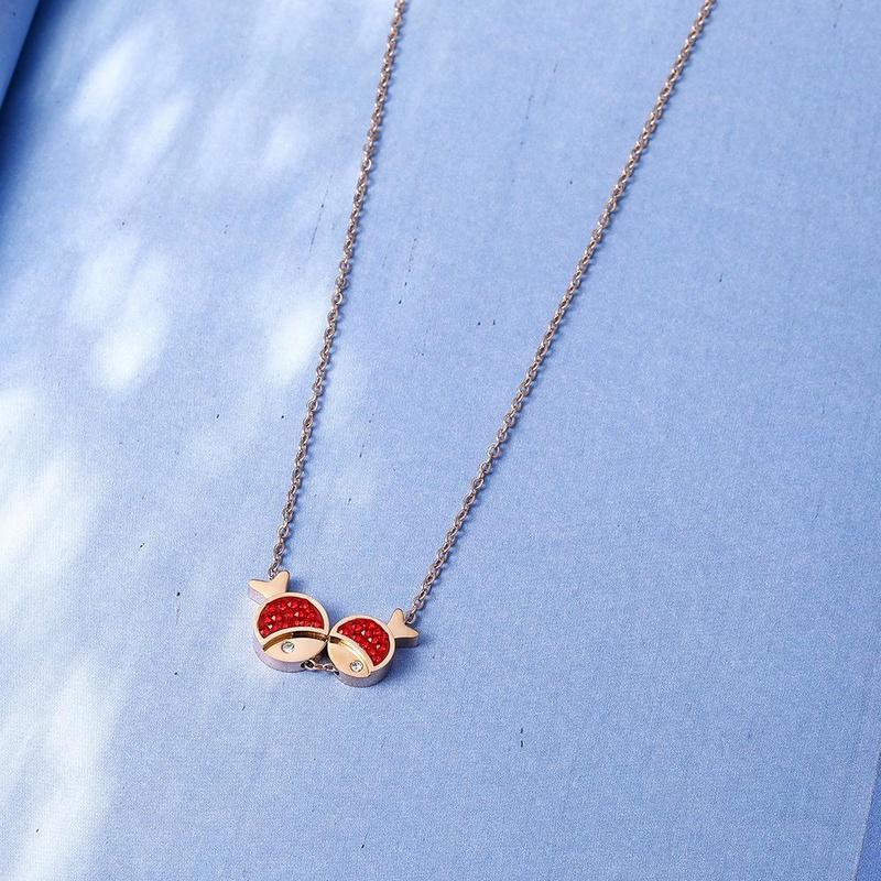 Women's short necklace Korean fashion simple red Pisces necklace women NHIM184529