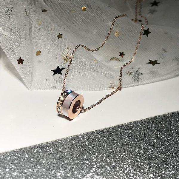 18K white gold plated titanium steel 18K rose gold pendant rose gold necklace women NHIM184535