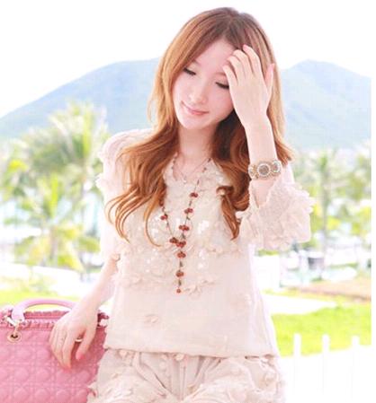 Korean fashion retro bright red fruit sweater chain NHSC184446