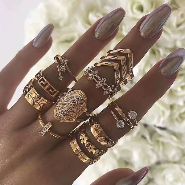 European and American trend wild simple multi-piece combination ring NHSC184724