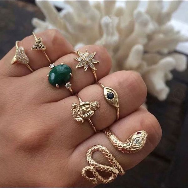 European and American trend wild simple multi-piece combination ring NHSC184725