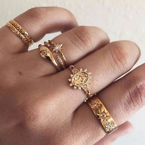European and American trend wild simple multi-piece combination ring NHSC184726