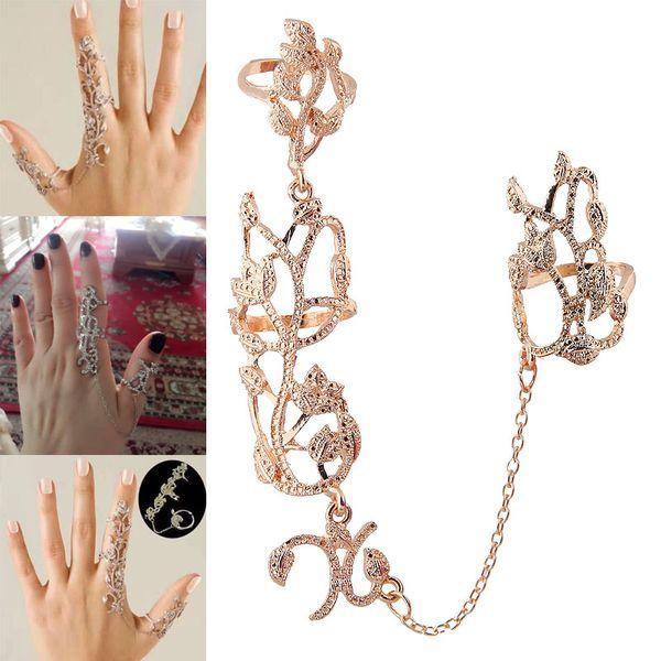 Anillo de personalidad de moda combinada de rosa simple de metal europeo y americano NHSC184727