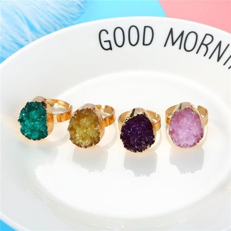 Personalized oval color ring gold ring imitation natural stone resin adjustable ring NHGO184722's discount tags