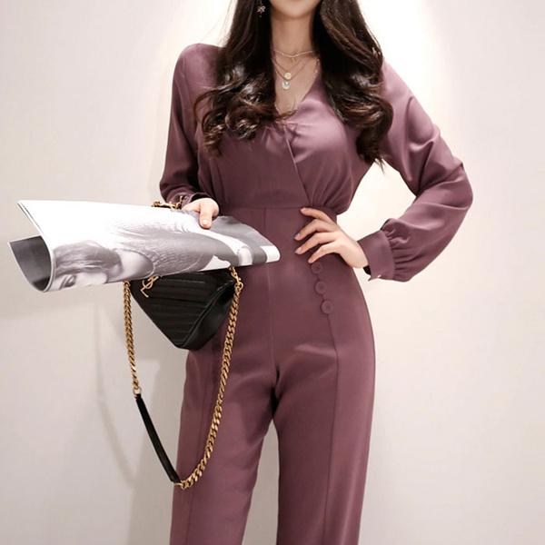 2019 spring new style temperament V-neck slim long sleeve waist jumpsuit women NHJC184105