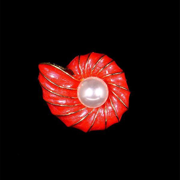 Enamel color pearl small conch brooch brooch silk scarf buckle brooch pendant NHIM184512